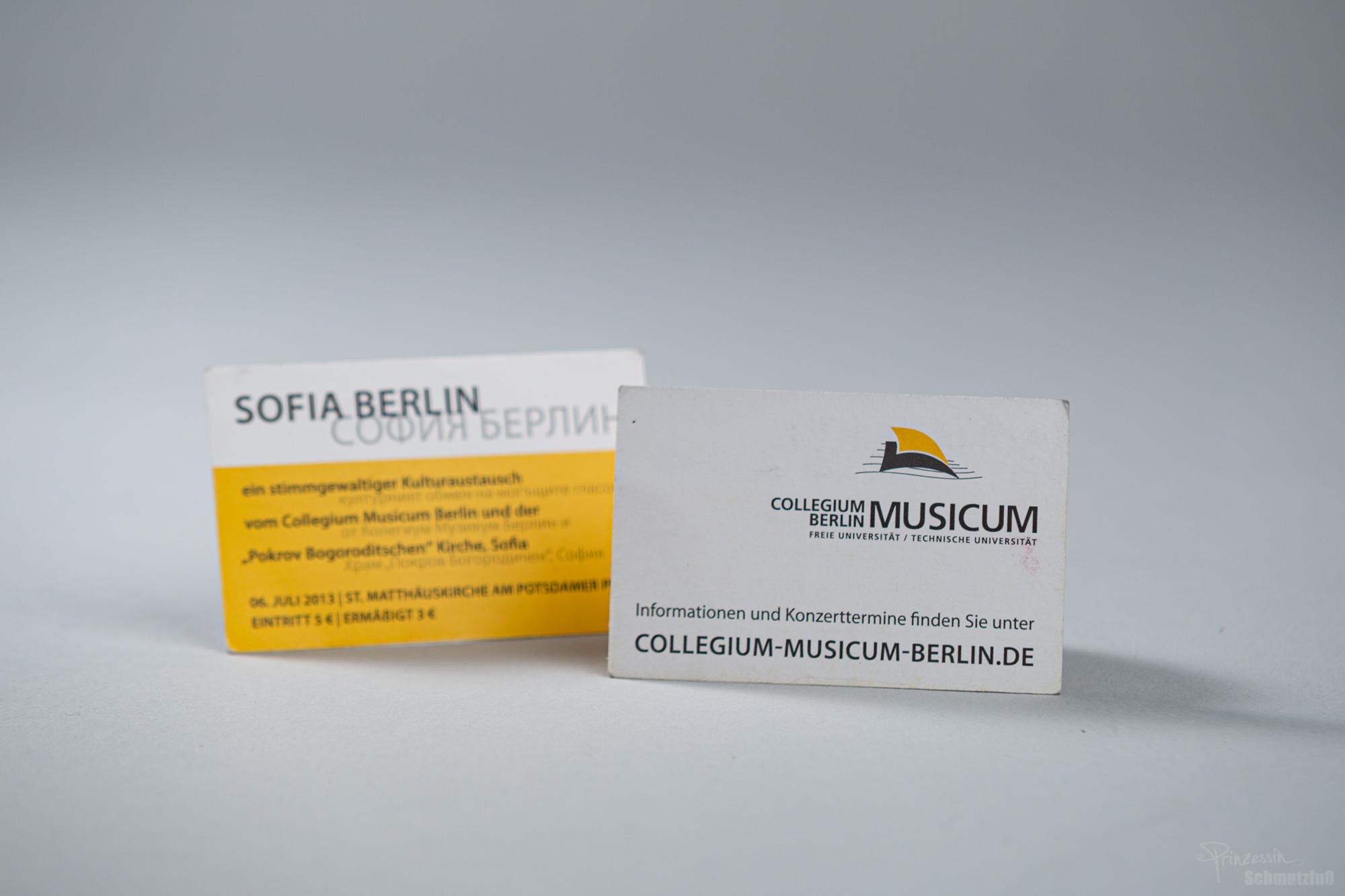 Layout Visitenkarte | Ankündigung zum Konzert | Collegium Musicum Berlin